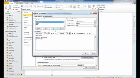 add or change your email signature on your blackberry changing email signature in outlook youtube