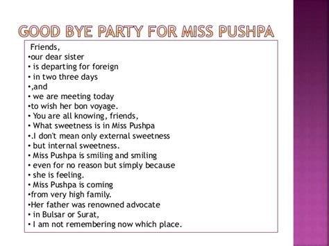 Meaning Of Bon Voyage In Hindi | good bye party for miss pushpa ts