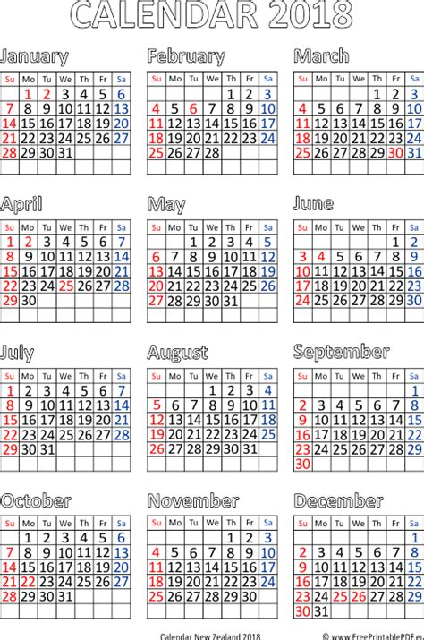 printable calendar nz 2018 calendar for year 2018 new zealand free printable pdf