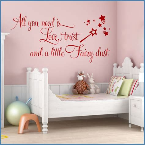 teenage bedroom quotes all you need is love trust fairy dust wall sticker decals