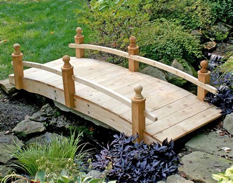 garden footbridge red cedar starflower single rail bridge