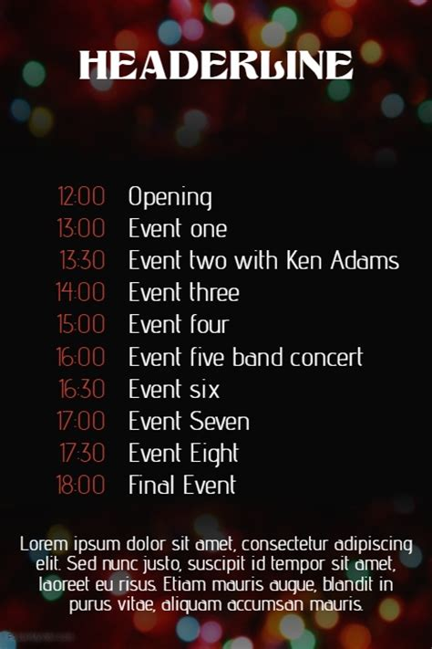 Christmas Event Concert Schedule Poster Template Postermywall Band Schedule Template