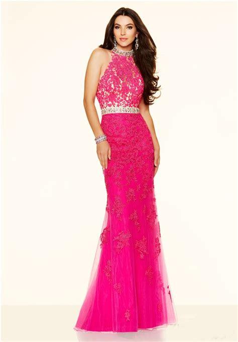Longdress Set 2in1 Glitter Pink mermaid high neck backless pink lace prom dress
