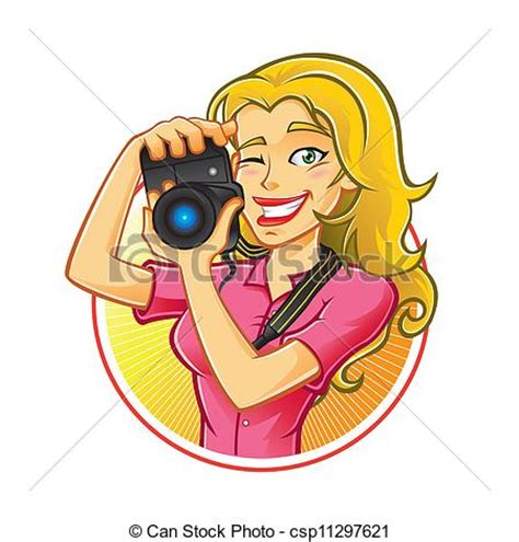 vector illustration of woman photographer woman