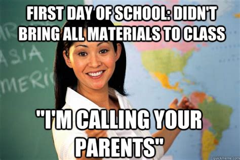 First Day Of Class Meme - first day of school didn t bring all materials to class