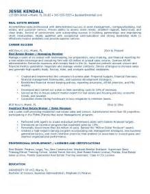 Resume Objective Real Estate Exle Real Estate Broker Resume Free Sle