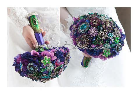 purple green blue peacock wedding broach bouquet by purple green blue peacock wedding broach bouquet by