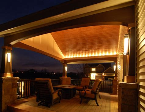 Covered Patio Lighting Deck And Covered Porch