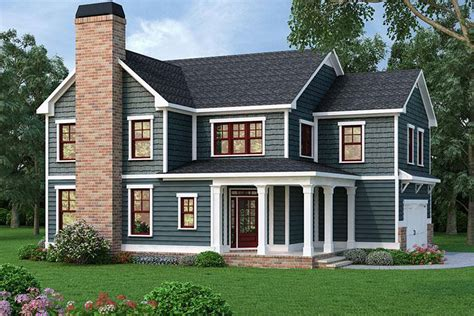 design home restart 4 bed home plan with corner porch 75516gb