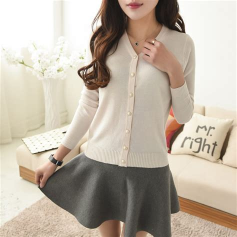 Blouse Sleeve Button Knit solid sleeve knit cardigan front button