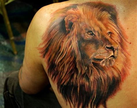 tattoo 3d leones realistic back lion tattoo by ron russo