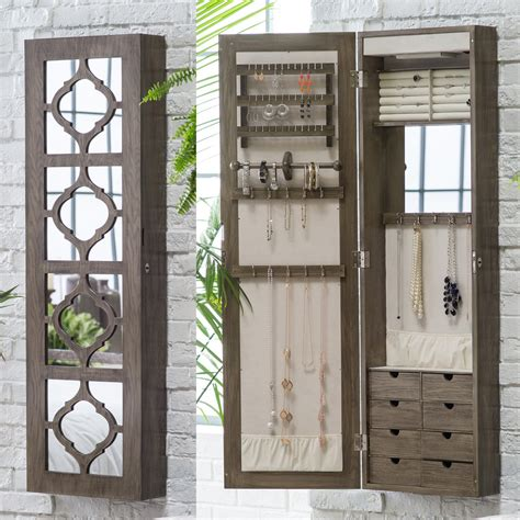 lighted wall mount jewelry armoire belham living lighted locking quatrefoil wall mount