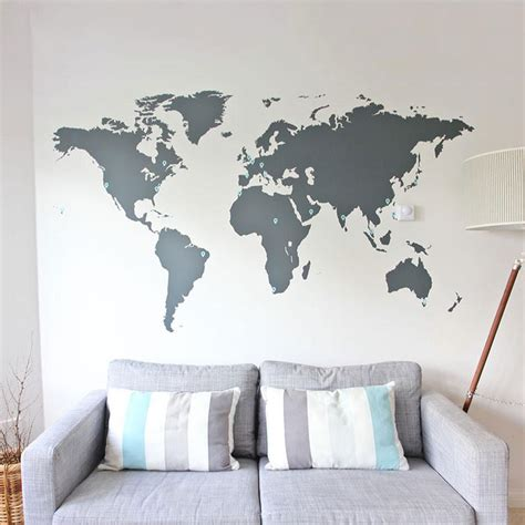 Large World Map Wall Stickers world map wall sticker vinyl impression