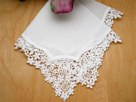 Floral Snowflake German Plauen Lace Womens Handkerchief