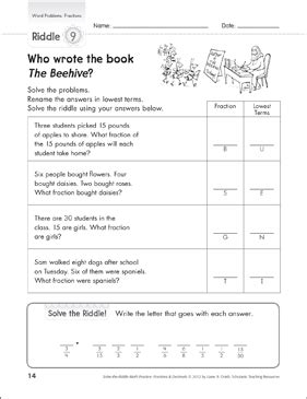 Solve The Riddle Word Problems Fractions Printable