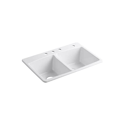 double bowl kitchen sinks kohler brookfield drop in cast iron 33 in 4 hole double