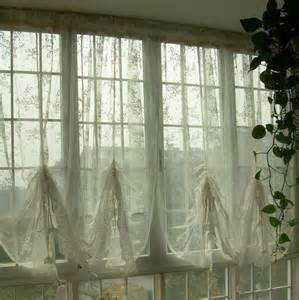 Balloon Curtains For Kitchen Country Lace Austrian Balloon Shade Sheer Voile Cafe Kitchen Curtain J Ebay