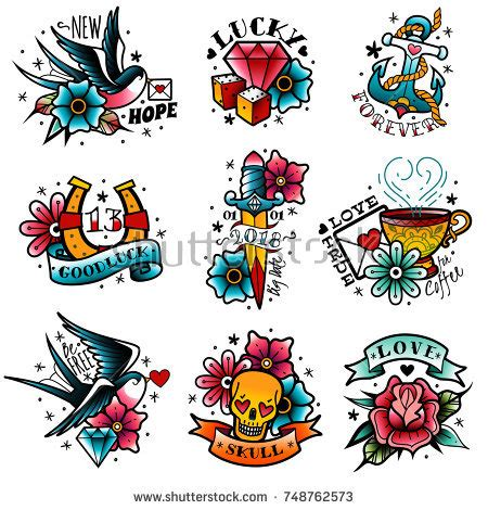 new school tattoo vector old school stock images royalty free images vectors