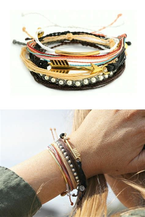 Pura Pura Hiptser summer style bohemian stacked bracelets pura vida