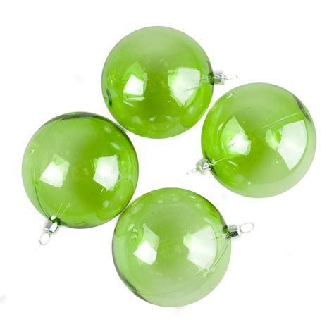 lime green tinted transparent shatterproof baubles pack