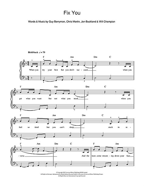 coldplay chords fix you fix you sheet music by coldplay beginner piano 111144