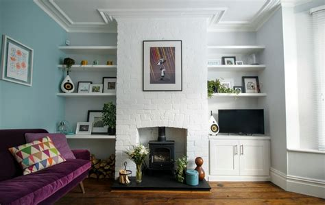 fitted living room modern white alcove shelving and cupboards modern living room other by freebird fitted