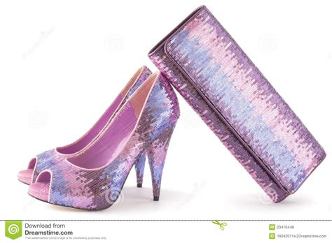 pare of pink shiny shoes and matching bag royalty free