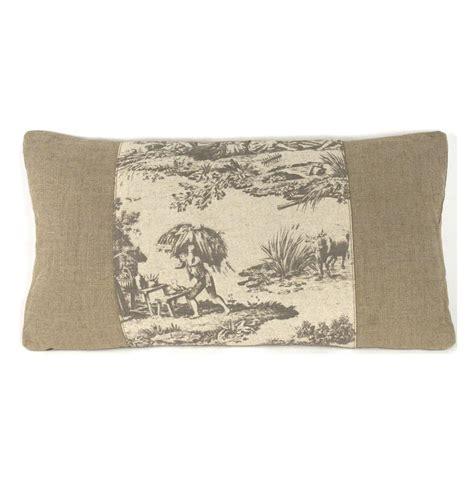 country burlap grey toile toss pillow 13 5x26