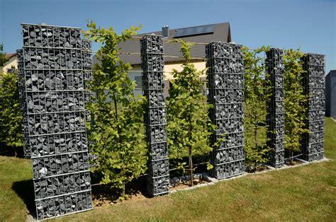 gabionen gestaltungsideen zaunteam sichtschutz gabionen steins 228 ulen sicht