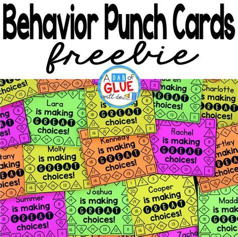 behavior punch cards  classroom management