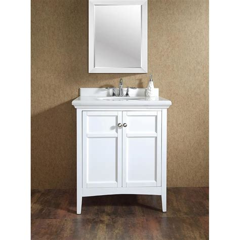White Bathroom Vanity With Marble Top by Shop Ove Decors Co White Undermount Single Sink