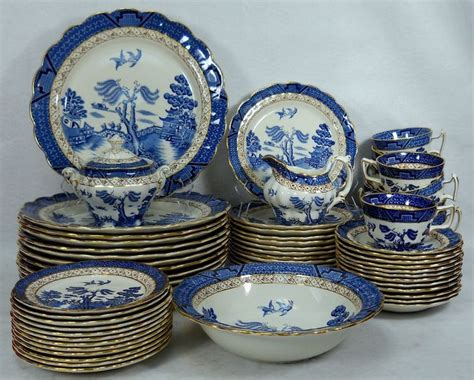 blue pattern crockery booths china real old willow pattern 64 piece set service