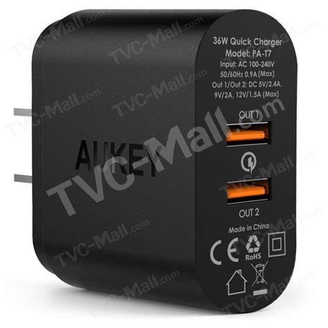 Aukey Usb Wall Charger 2 Port Eu 36w With Qualcomm Charge aukey 36w 2 port qualcomm charge 2 0 usb wall charger pa t7 us tvc mall