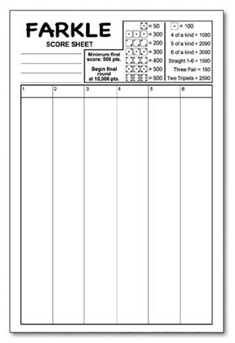 printable rules for farkle dice game farkle score pad 5 5 quot x 8 5 quot 50 sheets notepad guajolote