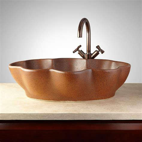 moro hand glazed pottery vessel sink deep sienna bathroom
