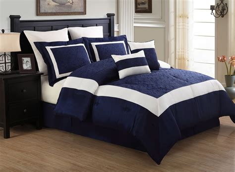 navy blue queen comforter 12 piece queen luke navy and white embroidered bed in a
