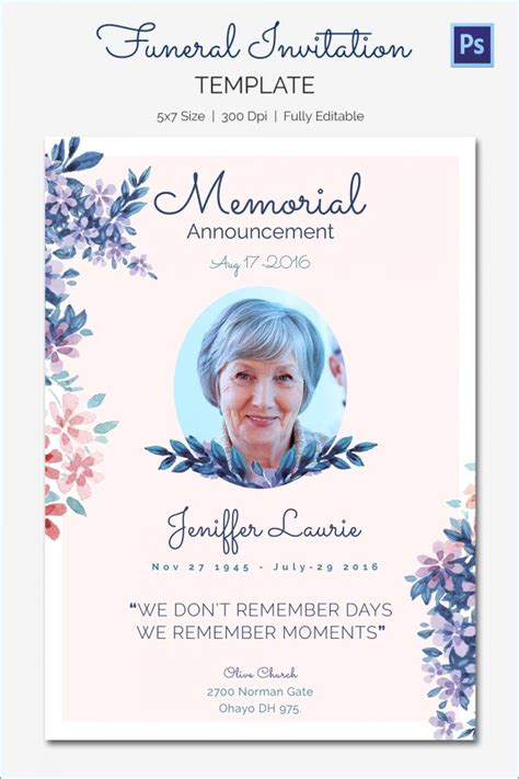 Memorial Cards For Funeral Template Free by Free Editable Funeral Program Template Microsoft Word