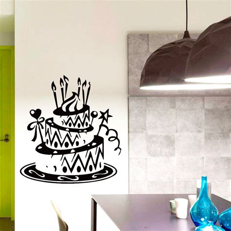 home decor vinyl wall art dctop high quality hollow out birthday cake wall decals