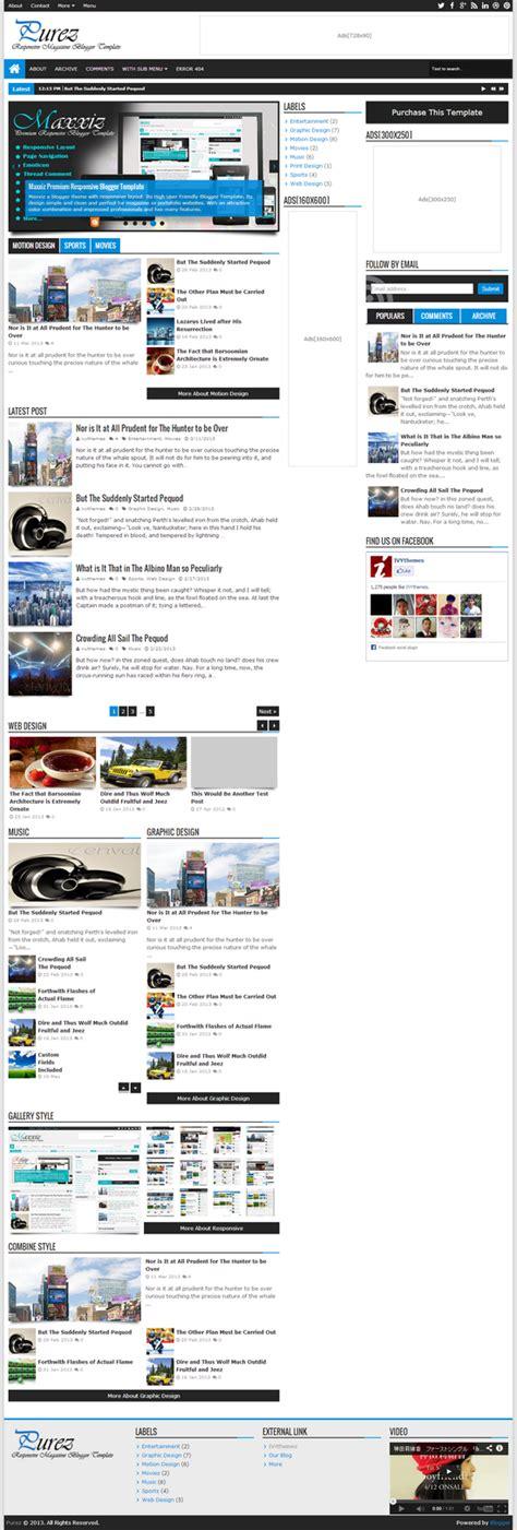 purez responsive magazine blogger template blogger