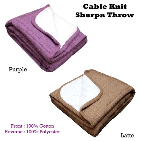 purple cable knit throw cable knit sherpa sofa lounge bed fringe throw blanket rug