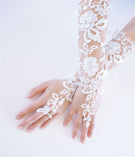 Rhinestone Wedding Gloves wedding fingerless gloves with rhinestones and satin lace