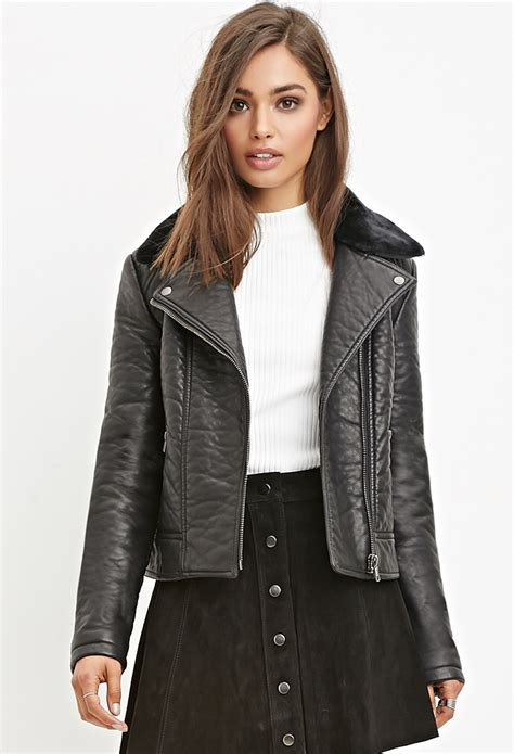 leather moto jacket forever 21 faux leather moto jacket in black lyst