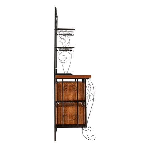 Iron Bakers Rack With Wicker Storage by Sei Iron Wicker Baker S Rack Free Standing