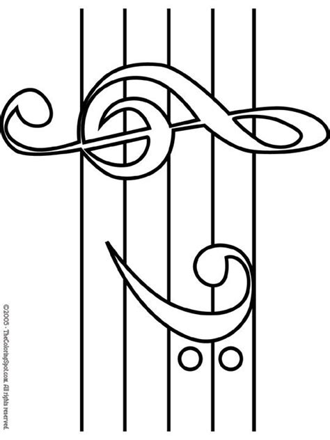 treble bass clef coloring page free music