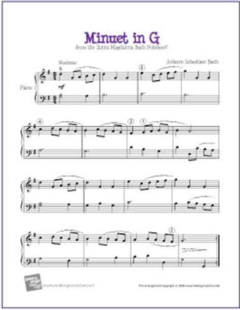 free printable piano sheet music intermediate minuet in g bach free sheet music for intermediate pia