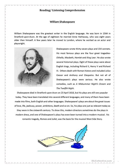 shakespeare biography for students william shakespeare worksheets geersc