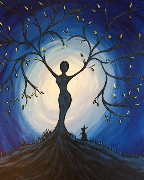 Paint Nite Blue Tree Goddess Use Orlandovip At Checkout