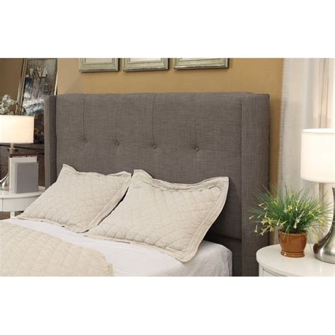 grey tufted wingback headboard modus geneva tufted wingback panel headboard in gray
