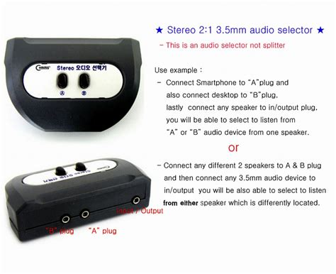 Jek Konektor Akai Mini Trs 3 5 To Rca mini trs stereo 3 5mm 2 ports 2 1 earphone speaker selector switch box ebay