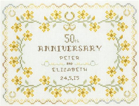 50th Wedding Anniversary Sampler cross stitch kit in gold